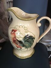 """Certified International Susan Winget ROOSTER LARGE 10"""" Water Pitcher"""