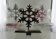 New Set of 3 Pewter Snowflake Stocking Holders