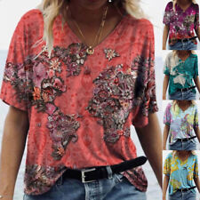 Summer Women Loose Comfy T Shirt V Neck Short Sleeve Blouse Casual Print Top Tee