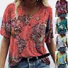 Summer Women Loose Comfy T Shirt V Neck Short Sleeve Blouse Casual Print Top Tee