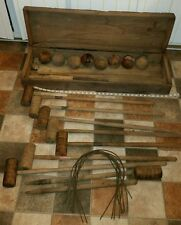 Vintage original wood croquet game set wood box balls LOT