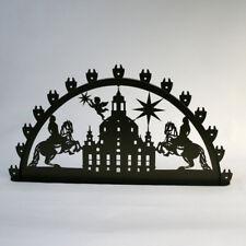 Schwibbogen Lichterbogen Dresden Frauenkirche + Reiter Metall XL Außen schwarz