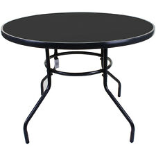 100cm Round Glass Table Black Metal Frame Outdoor Garden Patio Furniture Large