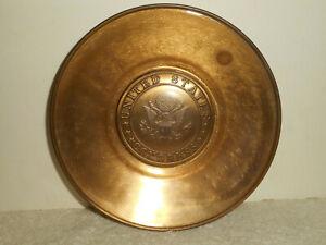 United States CONGRESS Brass Glass Trinket Dish Metal Spin Craft N. Attleboro MA