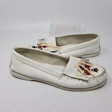 Minnetonka Moccasin White Leather Tassal Loafer Slip On Shoes Women Size 10