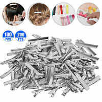 100/200x Alligator Hair Clips Silver Metal Crocodile For Bows Barrette 45mm/1.77