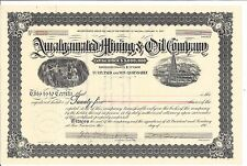 Amalgamated Mining & Oil Company.Early 1900'S Common Stock Certificate