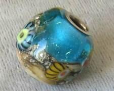Lampwork USA Handmade Bead Universal Glass Charm *Aquamarine Sea* for all chains