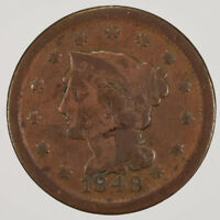 1848 1c BRAIDED HAIR LARGE CENT LOT#D501