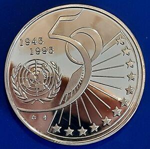 "BELGIUM / 1995 5 Silver Ecu ""50th Ann. - United Nations"" - Proof !!"