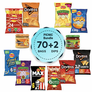 72 Walkers Crisps Bundle with Doritos Dip Variety Wotsits French Fries Tortilla
