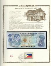 Philippines 1978 P 159b 2 Piso UNC w/FDI UN FLAG STAMP Prefix UN