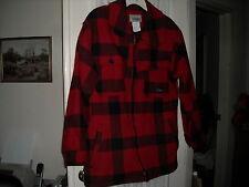 Codet Canada Canadian coat 100% wool red black plaid 4 pocket shoulder flap