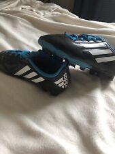 Boys Sz 12K Black Blue White Adidas Conquisto FG J Soccer Cleats B25593