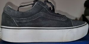 GREY VANS WHITE PLATFORM  TRAINERS SKATER SHOES LEATHER & SUEDE GOOD COND SIZE 6