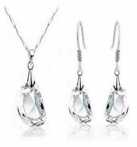 18K White Gold Filled Clear Crystal Dangle Drop Earrings Necklace Jewellery Set