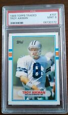 1989 Topps Traded Troy Aikman Rc #70T Dallas Cowboys PSA 9 Mint