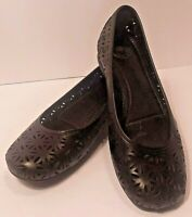 Women's Size 6 Nurture Black Leather Flats Suede Ladies Comfort Shoes Mary Janes