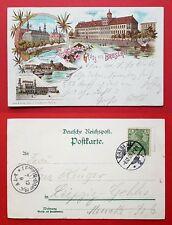 Litho AK BRESLAU 1900 Bahnhof, Sandkirche, Universität und Gericht  ( 31939