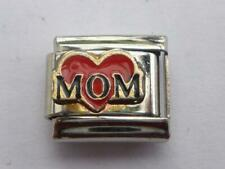 RED HEART MOM MUM SILVER ITALIAN CHARM  fits all makes of Italian bracelet N12