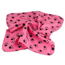 Soft Warm Paw Print Fleece Pet Blanket Dog Cat Puppy Bed Mat Cover Pink 70X60 cm