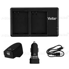 USB Dual Port Charger + AC/DC for Canon NB-2LH Battery