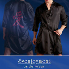 Svenjoyment Mens Kimono Black Gloss Silk With Chinese Print Meaning Love L/XL
