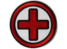 "(B39) RED & BLACK CROSS MEDIC 3"" Round iron on patch (5455) EMT"