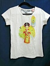 NWT THE PALACE MUSEUM WOMAN'S WHITE TOP ORIENTAL WOMEN RHINESTONES PEARLS SZ XL