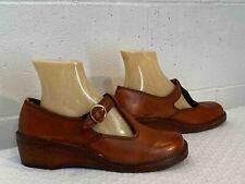 Nos Sz 9 B Dark Caramel Leather Vtg 60s 70s Shoes Mary Jane Wood Wedge Heel