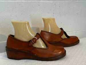 caramel leather women/'s size US 6 70s Deadstock Wedge Oxfords