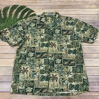 Royal Creations Mens Hawaiian Shirt Sz XL Green Block Print Palms Turtles Aloha