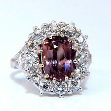 GIA Certified 3.73ct Purplish Brown Sapphire Diamonds Ring Platinum Vintage
