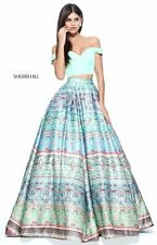 Sherri Hill 51204 Blue Green Crop Top Ball Gown Dress sz 0