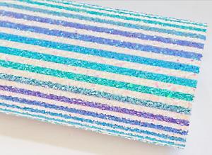 Ocean Rainbow Stripes Chunky Glitter Fabric