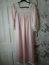 New listing Christian Dior Vintage Pink Satin Long Nightgown White Lace Trim S/M