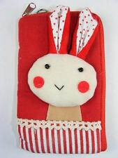 HANDCRAFTED FABRIC CELL PATTERNED PHONE BAG TOTES (RED BUNNY)