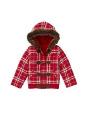 NWT XS 3T 4T Gymboree Alpine Sweetie red heart toggle plaid jacket coat fur trim