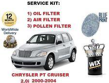 FOR CHRYSLER PT CRUISER 2.0 2000-2004 OIL AIR POLLEN FILTER SERVICE KIT