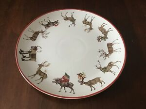 """Pottery Barn Silly Stag Reindeer Serving Plate Plattet 14"""" Christmas New"""