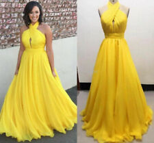 Long Evening Dresses Halter Pleated Chiffon Evening Formal Gowns Plus Size