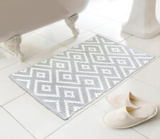 Country Club Kina Bath Mat, Grey Bathroom Soft Woven Patterned Decorative
