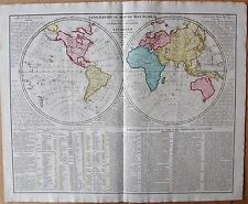 1829 Antico Mappa-lavoisne-Mondo in emisferi-celebre NAVIGATORI