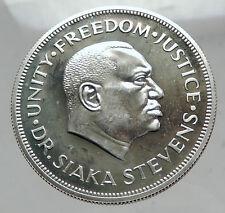 1974 SIERRA LEONE Silver Coin of West AFRICA Dr. Siaka Stevens Bank Lion i63513