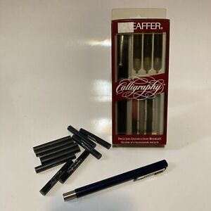 Vintage Sheaffer Calligraphy Set In Original Box w/ Pen 3 Nibs & Jaeger Ink Pen