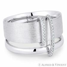 0.10 ct Round Cut Diamond Pave 14k White Gold Right-Hand Thick Double-Band Ring