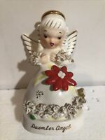 Vintage Napco A1372 December Christmas Angel Flower on Dress Looking Down Japan