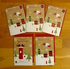 OXFAM 5 Quality Foil & Sparkle Christmas Cards - Wishes from Afar/Special Couple