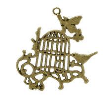 """1 Pcs Antique Bronze Birdcage Charms Pendants 5.6x5.1cm(2-1/4""""x2"""") LC2004"""
