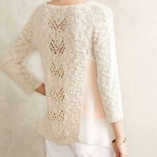 Knitted & Knotted Anthropologie Cream Sylt Pointelle Sweater Size Large L
